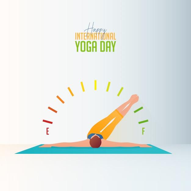 Banner der frau, die yoga zu hause für den internationalen yogatag tut. Premium Vektoren