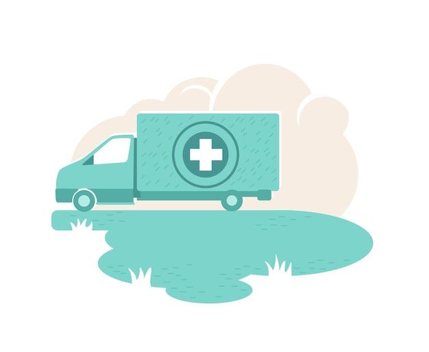 Banner der humanitären hilfe van, plakat. krankenhausauto. medikamentenspendeillustration auf karikaturhintergrund. druckbarer patch des fahrzeugs der wohltätigkeitsorganisation, buntes element Premium Vektoren