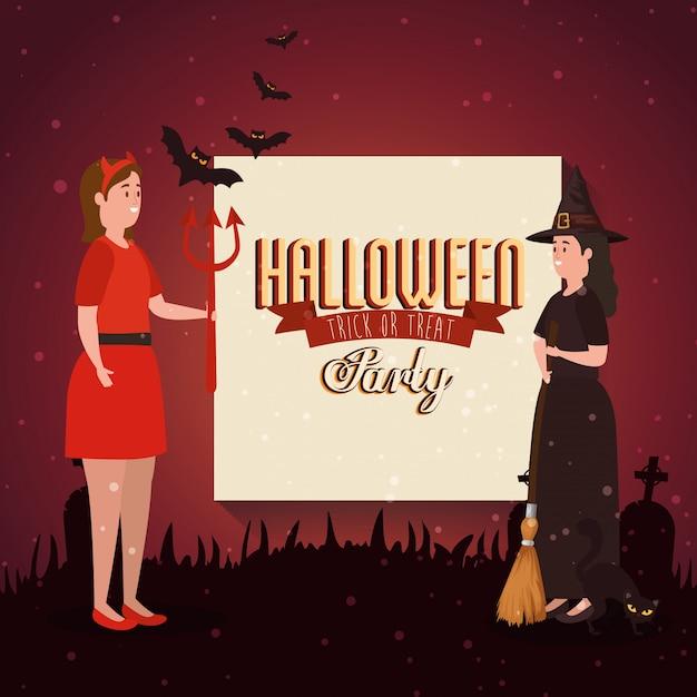 Banner der party halloween mit frauen verkleidet Premium Vektoren