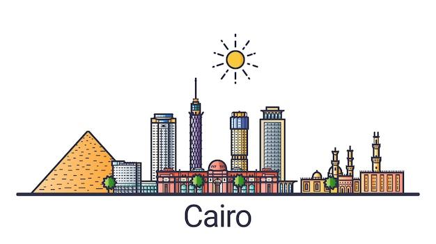 Banner der stadt kairo im flachen linienstil. kairo stadtlinie kunst. Premium Vektoren