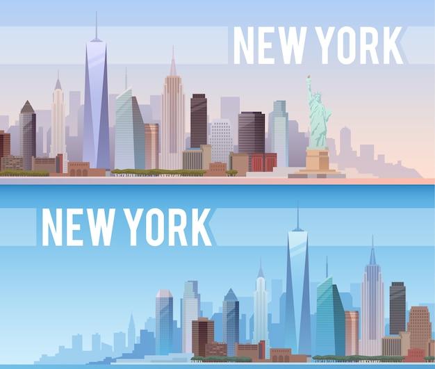Banner der stadtlandschaft von new york Premium Vektoren