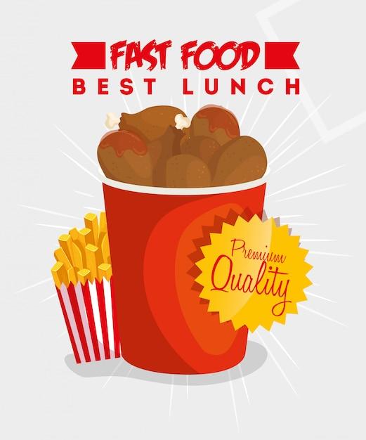 Banner des besten mittagessens mit hähnchen und pommes Premium Vektoren