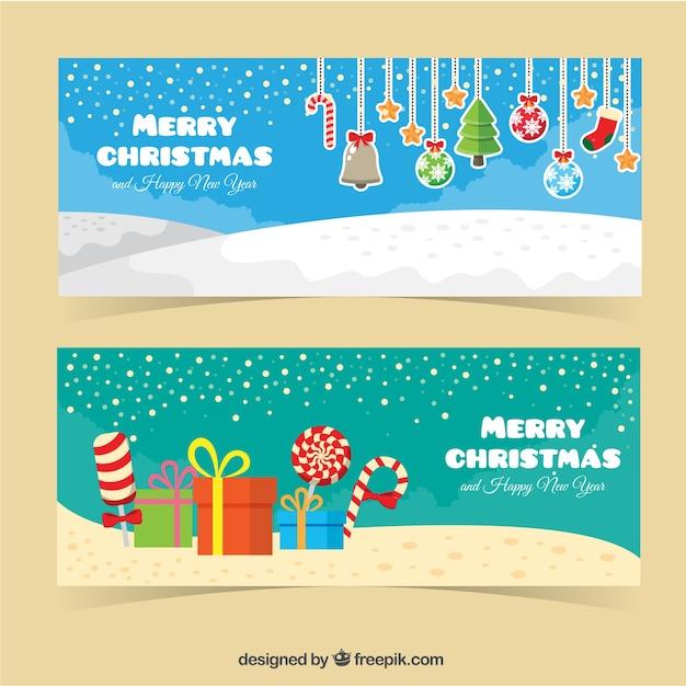 banner des frohe weihnachten und neujahr mit ornamenten. Black Bedroom Furniture Sets. Home Design Ideas