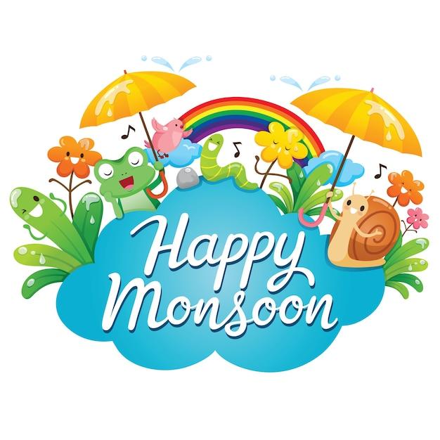 Banner des glücklichen monsuns mit zeichentrickfigur, tieren und natur Premium Vektoren