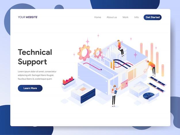 Banner des technischen supports der zielseite Premium Vektoren