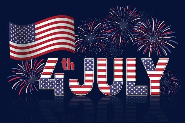 Banner des vierten juli mit feuerwerk auf dunkelblauem hintergrund Premium Vektoren