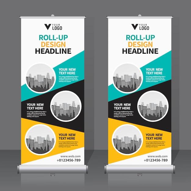 Banner-design-vorlage aufrollen Premium Vektoren