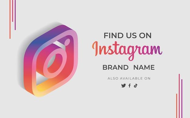 Banner finden uns instagram mit symbol Kostenlosen Vektoren