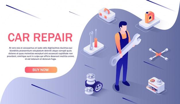Banner für autoreparaturservice und ersatzteil-onlineshop banner Premium Vektoren
