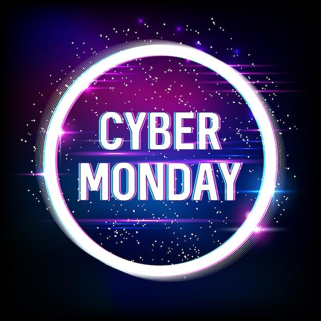 Banner für cyber monday sale mit neon- und glitch-effekten. cyber monday, online-shopping und marketing. poster . . Premium Vektoren