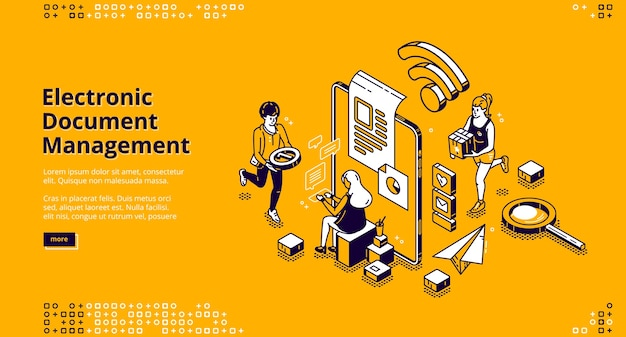 Banner für die elektronische dokumentenverwaltung. online-dokumentenspeicherung, digitales system der papierorganisation Kostenlosen Vektoren