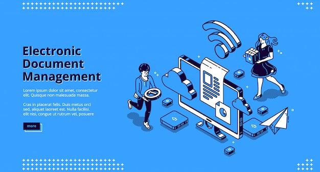 Banner für die elektronische dokumentenverwaltung Kostenlosen Vektoren