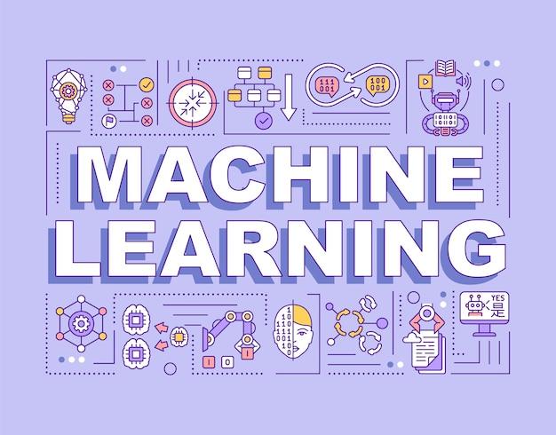 Banner für maschinelles lernen von wortkonzepten Premium Vektoren