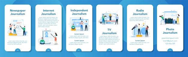 Banner für mobile anwendungen für journalisten. fernsehreporter mit mikrofon. massenmedienberuf. zeitungs-, internet- und radiojournalismus. Premium Vektoren