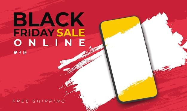 Banner für online-black friday-verkauf mit smartphone Kostenlosen Vektoren