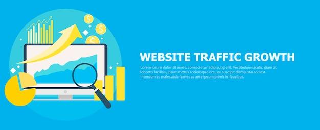 Banner für website-traffic-wachstum. computer mit diagrammen, wachstumscharts. lupe. Kostenlosen Vektoren