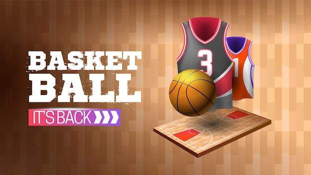 Banner gab basketball mit holzstruktur zurück Kostenlosen Vektoren