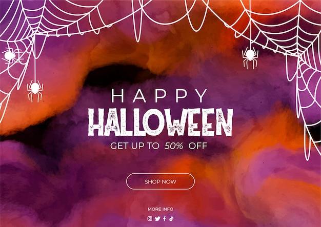 Banner halloween verkauf in aquarell Kostenlosen Vektoren