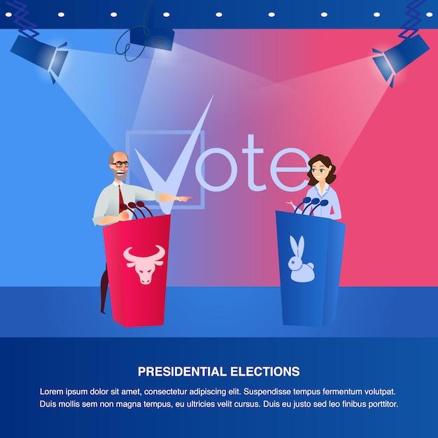 Banner illustration debatte präsidentschaftswahlen Premium Vektoren