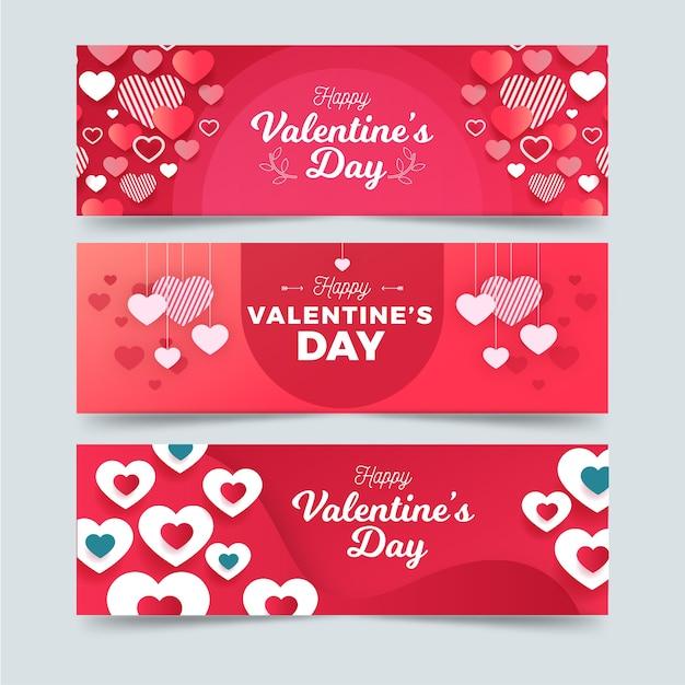 Banner im flachen design-stil zum valentinstag Kostenlosen Vektoren