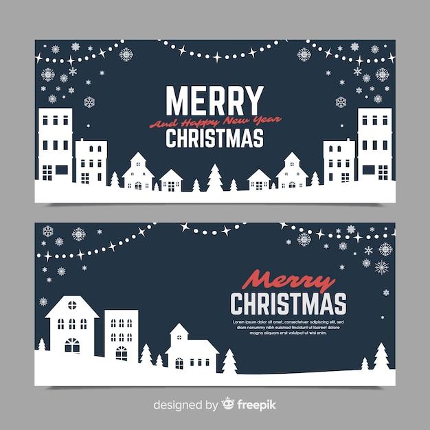 Banner in flachen stil mit weihnachtsstadt Kostenlosen Vektoren