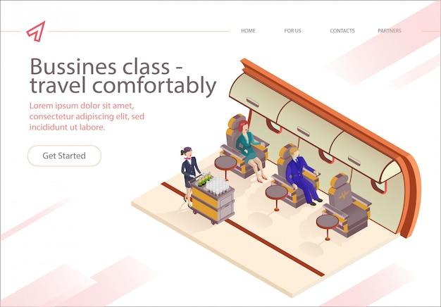 Banner inschrift bussines class fly bequem. Premium Vektoren