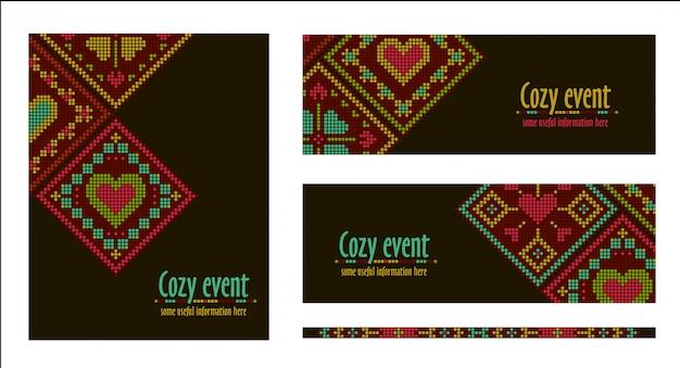 Banner, karte, flyer vorlage im ethnischen stil. stickerei kreuzstich design. rautenverzierung. Premium Vektoren