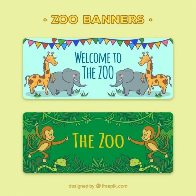 Banner mit der hand gezeichnet wilden tieren Kostenlosen Vektoren