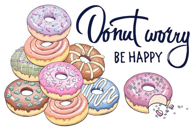 Banner mit donuts und inschrift. Premium Vektoren