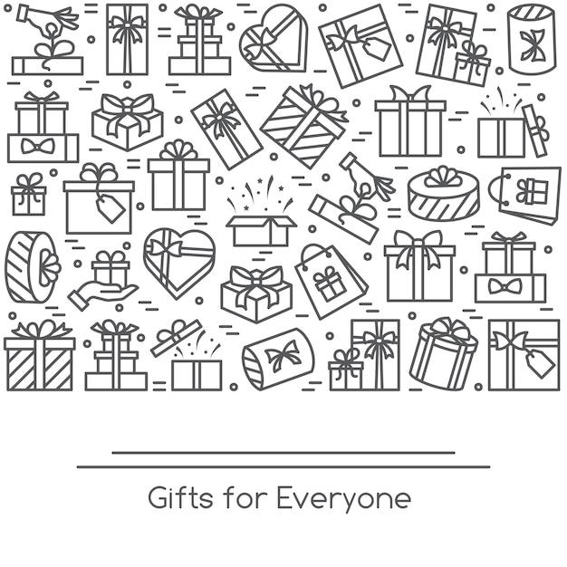 Banner mit eingewickelten piktogrammen der geschenkboxen mit editierbarem strich in form von rectan Premium Vektoren