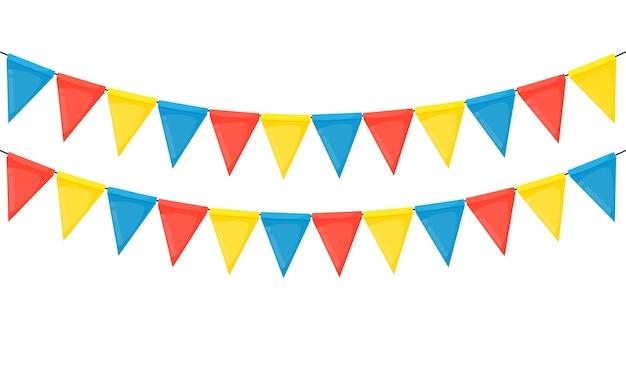 Banner mit girlande aus fahnen und bändern. feiertagspartyhintergrund für geburtstagsfeier, carnava. Premium Vektoren