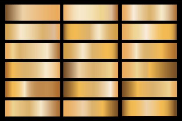 Banner mit gold- und bronzegradienten-texturhintergründen. Premium Vektoren