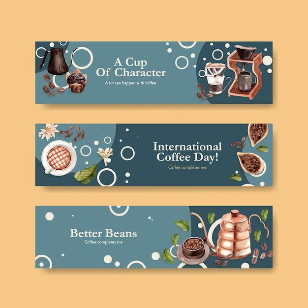 Banner mit internationalem kaffeetag-konzeptdesign für werbe- und marketingaquarell Kostenlosen Vektoren