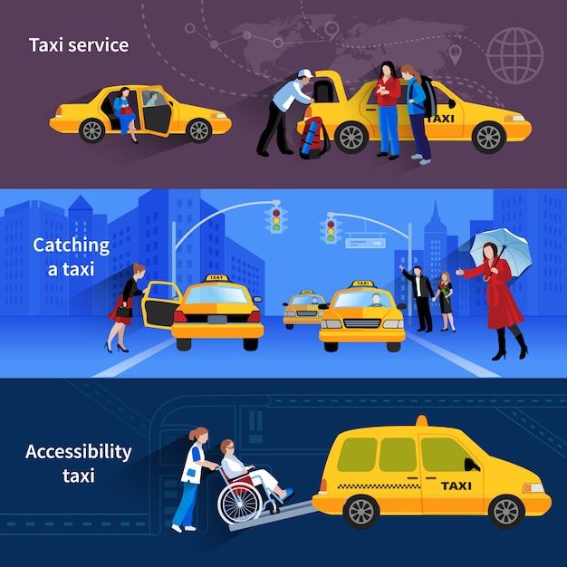 Banner mit szenen von taxi-service, die taxi und zugänglichkeitstaxi fangen Kostenlosen Vektoren