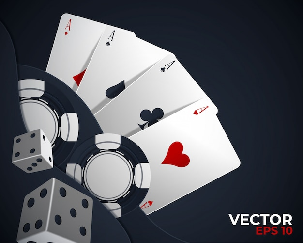 Banner mit vier assen und mehreren rückseitenspielkarten Premium Vektoren