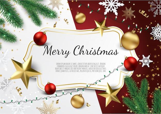 Banner mit weihnachtsbaumzweigen, goldenen sternen, weihnachtskugeln und platz für text, Premium Vektoren