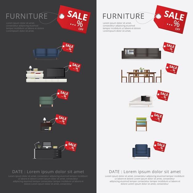 Banner möbelverkauf werbung flayers Premium Vektoren