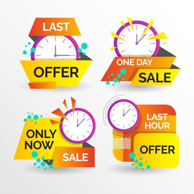 Banner-pack mit verkaufs-countdown Kostenlosen Vektoren