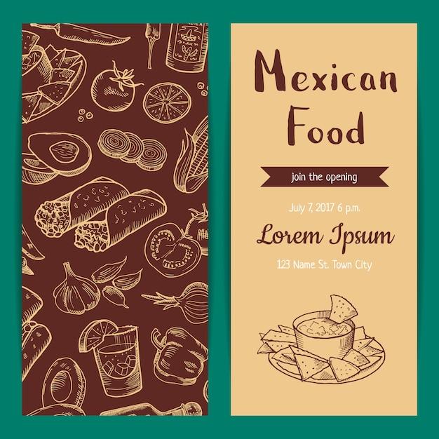 Banner poster und flyer oder einladung vorlage für restaurant cafe mit skizzierten mexikanischen food-elementen Premium Vektoren