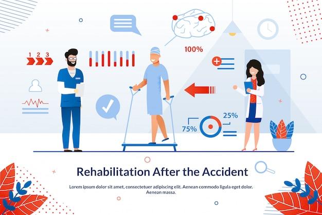Banner rehabilitation nach der unfallwohnung. Premium Vektoren