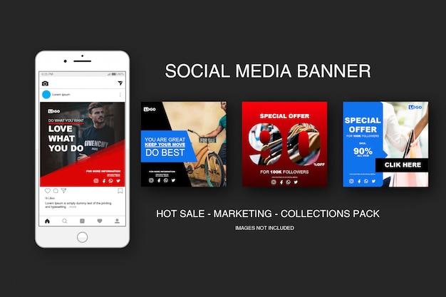 Banner sale instagram sammlungen pack Premium Vektoren