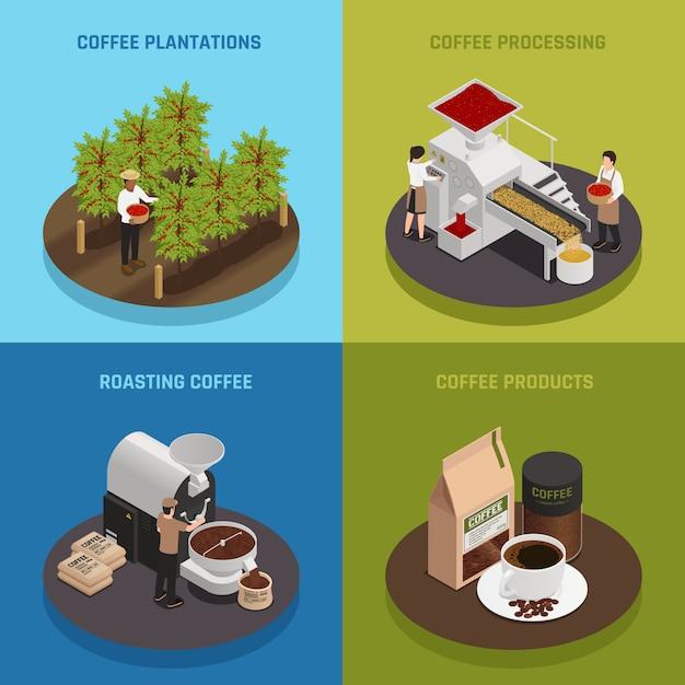 Banner-sammlung der kaffeeindustrie Kostenlosen Vektoren
