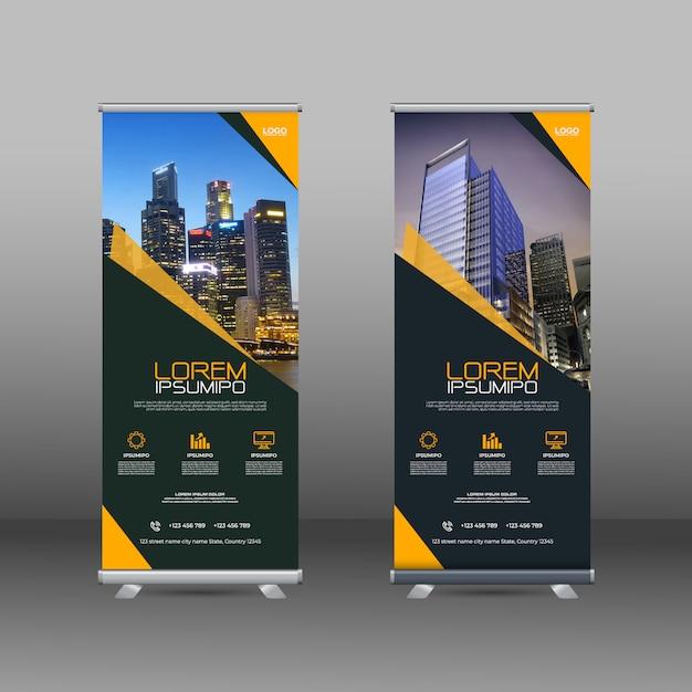 Banner-schablonendesign mit geometrischen formen Premium Vektoren