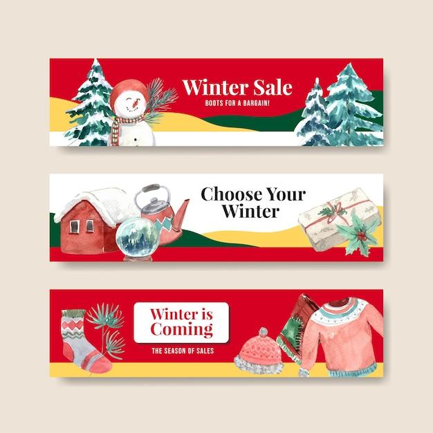 Banner-schablonenset mit winterverkauf für werbung im aquarellstil Kostenlosen Vektoren