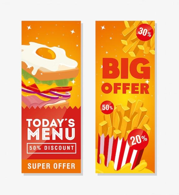 Banner set angebot leckeres fast food Premium Vektoren