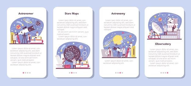 Banner-set für astronomie und astronomen für mobile anwendungen. Premium Vektoren