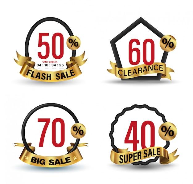 Banner set gold 3d-stil illustration für werbung werbung. Premium Vektoren