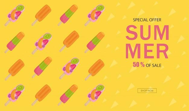 Banner sommerschlussverkauf. eis mit obst, nüssen, erdbeeren, kiwi, orange Premium Vektoren