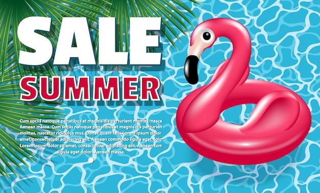 Banner summer sale. aufblasbarer kreis - rosa flamingo Premium Vektoren