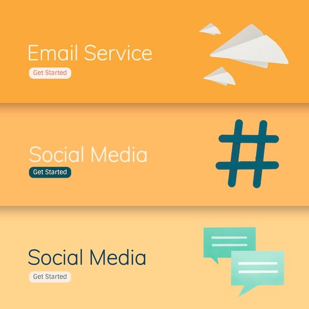 Banner-vektoren für social media-anwendungen Kostenlosen Vektoren